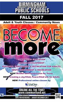 Birmingham Community Education 2017 Fall brochure cover